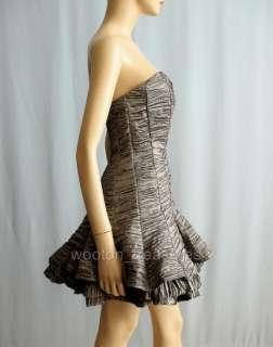 Jessica McClintock Silver Strapless Party Dress 6 XS $150