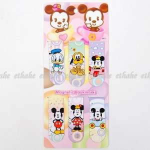 Mickey Minnie Mouse Pluto Magnet Bookmark Blue Office