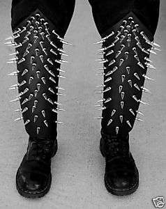 SPIKED LEATHER PAIR BOOT COVERS BLACK METAL GORGOROTH