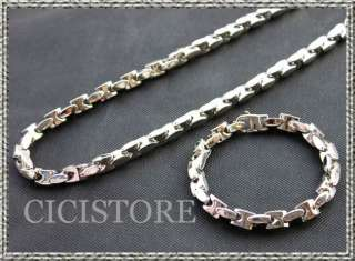 Classic Stainless Steel Men Chain Necklace Bracelet Set