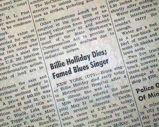 BILLIE HOLIDAY DEATH Lady Day Jazz Blues Singer 1959 Newspaper |