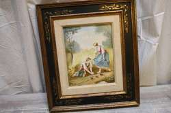 Antique French Tile Porcelain Painting Country Road Male Female Baby