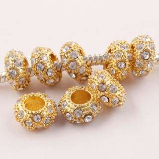 CZ Crystal European Spacer Loose Gold Plated Beads Fit Charm Bracelet