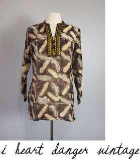 vtg INDIA GAUZE TUNIC TOP shirt dress Batik ethnic with embroidery S