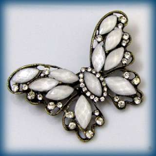ADDL Item  1 pc antiqued rhinestone butterfly brooch pin