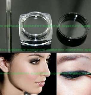 Black Makeup Waterproof Eyeliner Eye Liner Gel + Brush