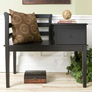 BENCH Black Storage Cottage Gossip Seat Foyer SEI BC9322 NEW