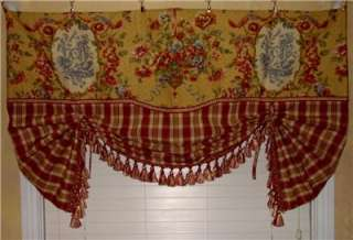 VALANCE Balloon Shade Curtain Red Gold Waverly Toile Plaid Trim