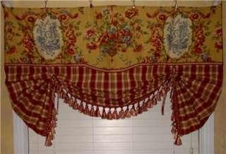 VALANCE Balloon Shade Curtain Red Gold Waverly Toile Plaid Trim