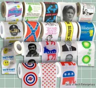 48 assorted toilet paper rolls   Clinton, Obama, Palin, Wet Fart