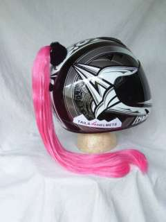 HELMET PINK PONYTAIL MOTORCYCLE, SKATE BOARD, BIKE