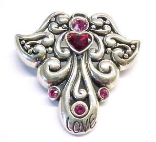 BARSE ~ CZ Sterling Silver ANGEL / LOVE Brooch Pendant