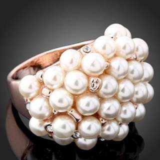 Arinna Swarovski Crystal pearls W Gold GP fashion Ring