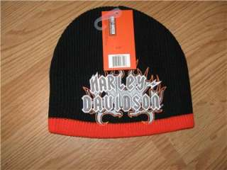 HARLEY DAVIDSON BLACK FLAME KNIT HAT NWT