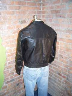 Vtg 60s Cafe Racer Motorcycle Leather Jacket American Male Padded