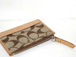 Leather And Khaki/Brown Signature Coin/Change Zip Wallet Purse