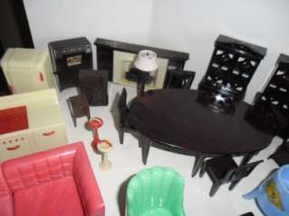 Marx Ideal Dollhouse Furniture 60+ pcs Figures All Rooms Nice