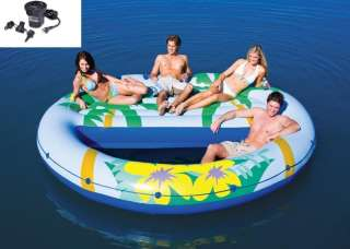 INTEX Island Oasis Inflatable Floating Pool Lounge + Quick Fill Air