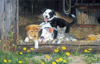 TERRY DOUGHTY Puppy/Kitten Print  BEST OF FRIENDS