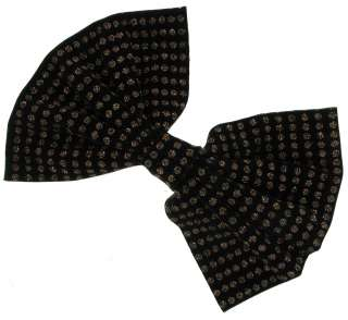 Bow Hair Barrette Huge Big Oversized Black Polka Dot