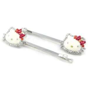 Pair of haarspange Hello Kitty Diamonds rot, weiß.