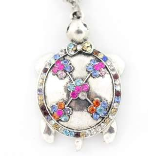 Beautiful Silver tone Full Crystal Turtle Pendant NECKLACE
