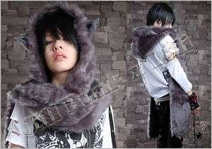 lolita cute Chinchilla kitty girl fur hoody scarf dark grey