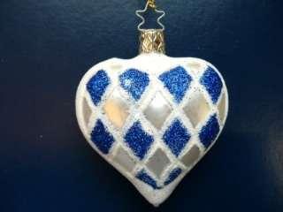 INGE GLAS BAVARIA HEART FLAG GERMAN BLOWN GLASS CHRISTMAS ORNAMENT