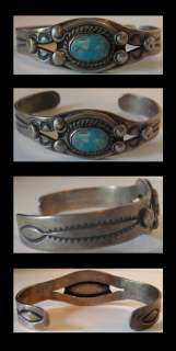 CHILDS VINTAGE NAVAJO INDIAN STERLING SILVER TURQUOISE CUFF BRACELET