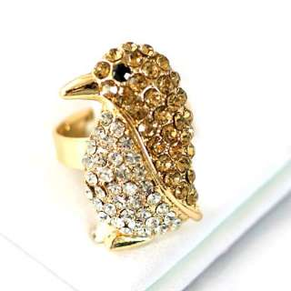 Wedding Gold Penguin Gemstone Gold plating Diamante Adjustable Ring