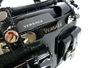 VERSACE Socialite Satchel Black Patent Leather Tote Bag Handbag NEW