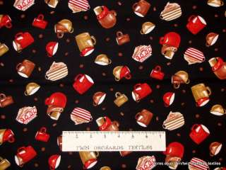 FABRIC Coffee Latte Black Red Cup Beans Cotton YARDS