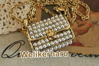 Hot sale Gold Chain full Pearls Purse Hand Bag Necklace