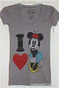 DISNEY I Heart Minnie Mouse Gray T Shirt Tee Top NWT