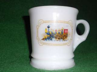 VINTAGE AVON MILK GLASS SHAVING MUG TRAIN ON FRONT