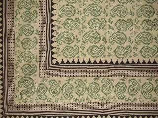 Block Print Paisley Bedspread Coverlet Green Twin
