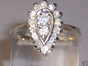 14K WHITE GOLD DIAMOND CLUSTER RING IN PEAR SHAPE