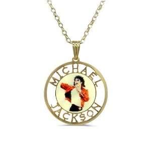 Kette, Silber, Gold plattiert, 50 cm, Anhänger mit Michael Jackson