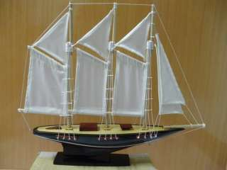 Hand Carved Wood Schooner Sail Boat Art model Ship Handmade Christmas