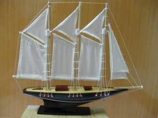 Hand Carved Wood Schooner Sail Boat Art model Ship Handmade Christmas