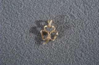 ANTIQUE 14 K YELLOW GOLD 3 LEAF CLOVER DIAMOND PENDANT CHARM