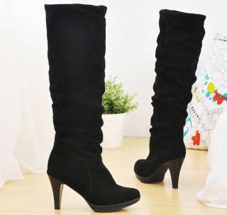 Black Brown Faux Suede High Heels Womens Boots US Size 5 6 7 8 9 C204