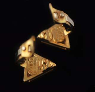 Marina B Solid 18k Two Toned Gold Triangle Earrings