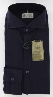 New $375 Borrelli Navy Blue Shirt M/M