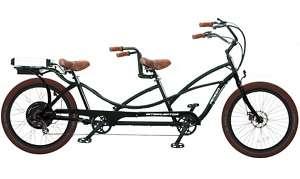 PEDEGO TANDEM ELECTRIC CRUISER BICYCLE BIKE BLACK FRAME/RIMS&BROWN