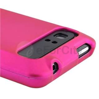 For AT&T HTC Vivid Rubberized Hard Case Snap On Phone Cover Pink+LCD