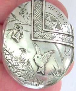 EXQUISITE LARGE ANTIQUE VICTORIAN STERLING SILVER PICTURE PHOTO LOCKET