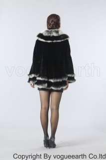 194 new real fox collar Rex rabbit fur black shawl/coat
