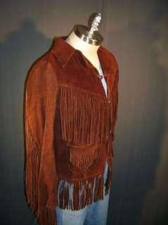 VTG 1960s Suede Leather Buckskin Frontier/Hippie Fringe Jacket/Coat