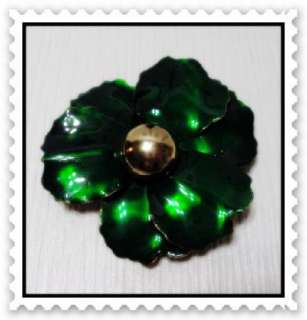 Vintage 60s Big Shimmer Teal Large Enameled Flower Brooch Pin